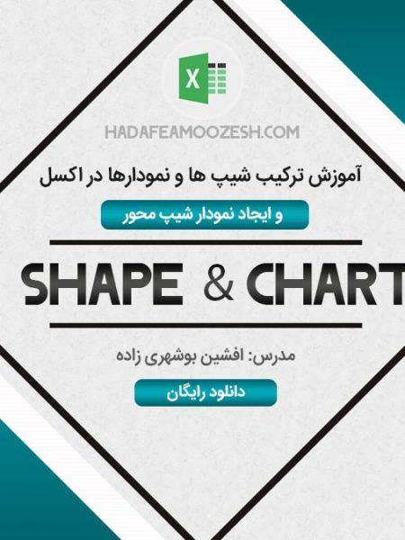 آموزش ترکیب شیپ ها و نمودارها در اکسل  و ایجاد نمودار شیپ محور